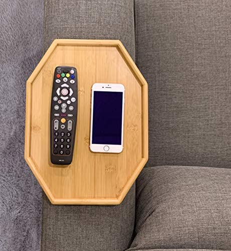 513rB73grML. AC  - Xchouxer Side Tables Natural Bamboo Sofa Armrest Clip-On Tray, Ideal for Remote/Drinks/Phone