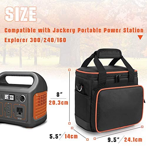 514YekP 9SL. AC  - Trunab Travel Carrying Bag Compatible with Jackery Portable Power Station Explorer 160/240/300, Storage Case with Waterproof PU Bottom and Front Pockets for Charging Cable and Accessories
