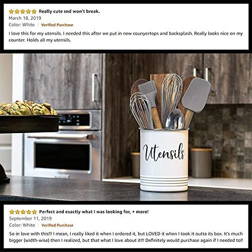 516av8+rUNS. AC  - Home Acre Designs Kitchen Utensil Holder for Countertop, Vintage Farmhouse Caddy for Utensils, White