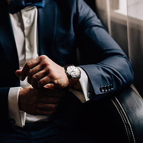 51AiDiAFEOL. AC  - K-Martins Mens Wrist Watch -Quartz Analog Roman Numeral with Classic Brown Leather - Waterproof 10 Years Batteries - Fashion Casual Unique Dress - Business Office Work School Watches