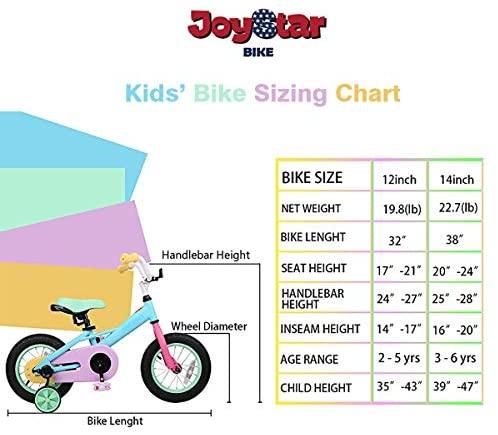 "51C+4aBJufL. AC  - JOYSTAR 12"" 14"" 16"" Kids Bike for 2-7 Years Girls 33-53 inch Tall, Girls Bicycle with Training Wheels & Coaster Brake, 85% Assembled, Macarons"