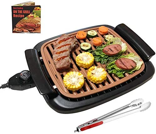 """51CHaIdxiOL. AC  - Nonstick Electric Indoor Smokeless Grill - Portable BBQ Grills with Recipes, Fast Heating, Adjustable Thermostat, Easy to Clean, 16"""" x 11"""" Tabletop Square Grill with Oil Drip Pan"""