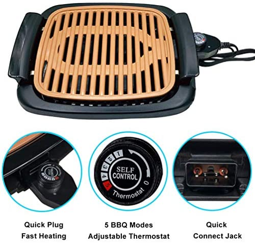 """51E39nNrNgL. AC  - Nonstick Electric Indoor Smokeless Grill - Portable BBQ Grills with Recipes, Fast Heating, Adjustable Thermostat, Easy to Clean, 16"""" x 11"""" Tabletop Square Grill with Oil Drip Pan"""