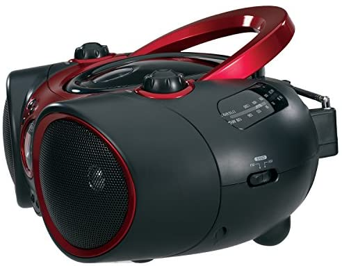 51FeSL 3bpL. AC  - JENSEN CD-490 Portable Stereo CD Player with AM/FM Radio and Aux Line-In, Red and Black