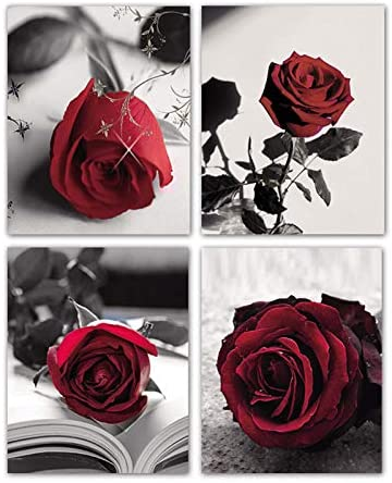 51FfDQupU3L. AC  - Modern Artwork Black And White Photo Red Rose Wall Art Paintings Set of 4 Rose Floral Picture Decor for Study Room Bedroom Living Room Home Decor Gift Frameless (8x10)