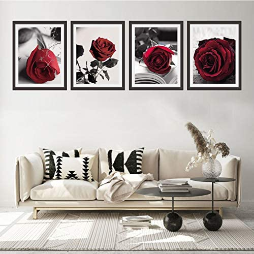 51FkDtsHK8L. AC  - Modern Artwork Black And White Photo Red Rose Wall Art Paintings Set of 4 Rose Floral Picture Decor for Study Room Bedroom Living Room Home Decor Gift Frameless (8x10)