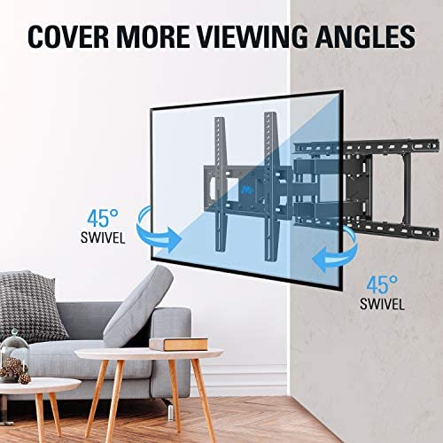 """51GIe9fCLXL. AC  - Mounting Dream TV Mount Full Motion TV Wall Mounts for 26-55 Inch Flat Screen TV, Wall Mount TV Bracket with Dual Arms, Max VESA 400x400mm and 99 LBS, Fits 16"""", 18"""", 24"""" Studs MD2380-24K TV Mounts"""