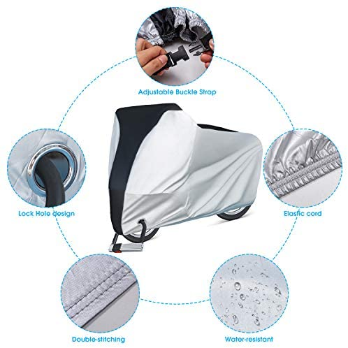 51HEi7ZwXqL. AC  - Puroma Bike Cover Outdoor Waterproof Bicycle Covers Rain Sun UV Dust Wind Proof with Lock Hole for Mountain Road Electric Bike