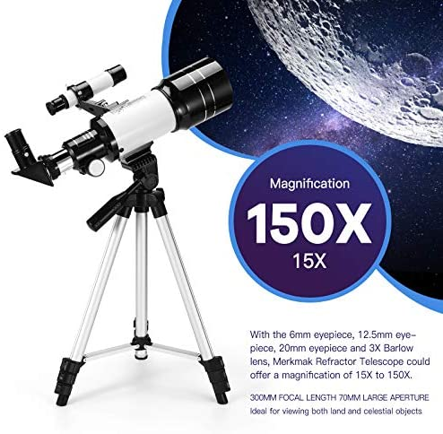 51I4FbA778L. AC  - Astronomical Telescope Zoom 150X Adjustable Tripod Backpack Phone Holder for Moon Viewing - 70mm Aperture 300mm AZ Mount Astronomical Refracting Telescope for Kids Beginners
