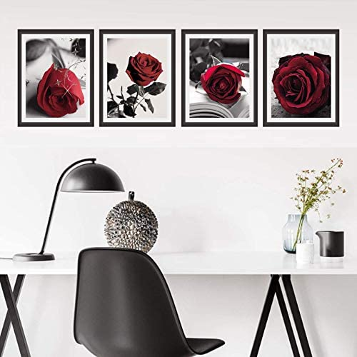 51Jap8LF uL. AC  - Modern Artwork Black And White Photo Red Rose Wall Art Paintings Set of 4 Rose Floral Picture Decor for Study Room Bedroom Living Room Home Decor Gift Frameless (8x10)