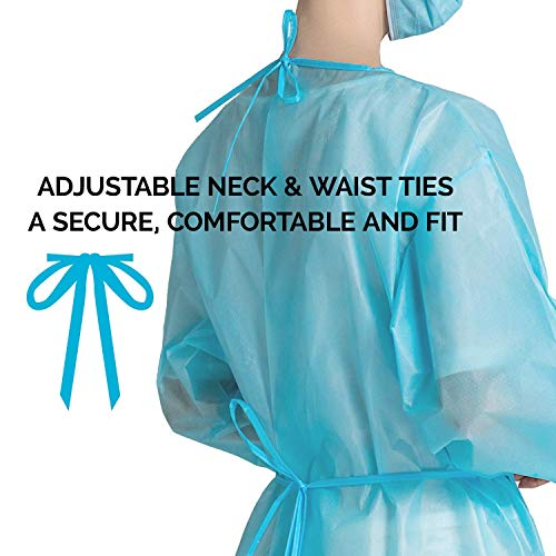 51KZXYU8SyL - 100 Pack LEVEL 1 PP Disposable Isolation Gowns with Elastic Cuff, Latex-Free, Non-Woven, Fluid Resistant, Dental, Medical, Hospital, Industries, ONE SIZE FITS ALL (100 PCS=10 Bags)