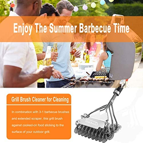 51LYyYEe1+L. AC  - POLIGO BBQ Grill Cleaning Brush Bristle Free & Scraper - Triple Helix Design Barbecue Cleaner - Non-Bristle Grill Brush and Scraper Safe for Gas Charcoal Porcelain Grills - Ideal Grill Tools Gift
