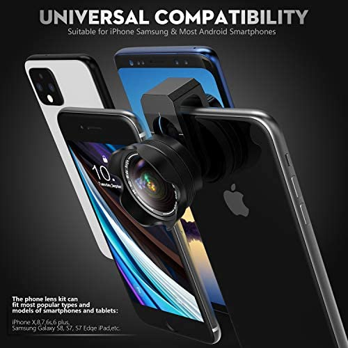 51LgEpWjW9L. AC  - Phone Camera Lens, 5K HD 2 in 1 120° Wide Angle Lens, 20X Macro Lens,Clip-On Phone Lens Compatible iPhone,Samsung, Most Andriod Phones No Distortion