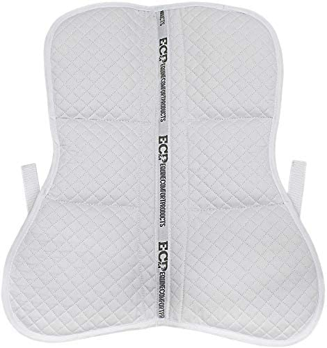 51LmyHzjdjL. AC  - ECP All Purpose Diamond Quilted Poly Cotton English Half Saddle Pad with Therapeutic Contoured Correction Support Pockets, 18 Memory Foam Shims Included