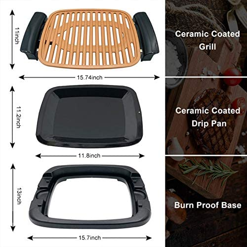 """51MGcaHI5gL. AC  - Nonstick Electric Indoor Smokeless Grill - Portable BBQ Grills with Recipes, Fast Heating, Adjustable Thermostat, Easy to Clean, 16"""" x 11"""" Tabletop Square Grill with Oil Drip Pan"""