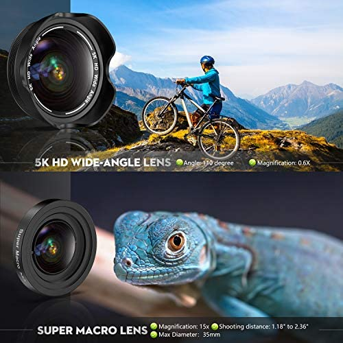 51MGed3D8qL. AC  - Phone Camera Lens, 5K HD 2 in 1 120° Wide Angle Lens, 20X Macro Lens,Clip-On Phone Lens Compatible iPhone,Samsung, Most Andriod Phones No Distortion