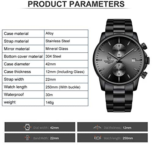 51MUJfQGWtL. AC  - GOLDEN HOUR Fashion Business Mens Watches with Stainless Steel Waterproof Chronograph Quartz Watch for Men, Auto Date