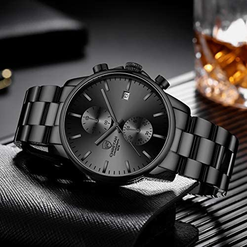 51NHlVLb uL. AC  - GOLDEN HOUR Fashion Business Mens Watches with Stainless Steel Waterproof Chronograph Quartz Watch for Men, Auto Date
