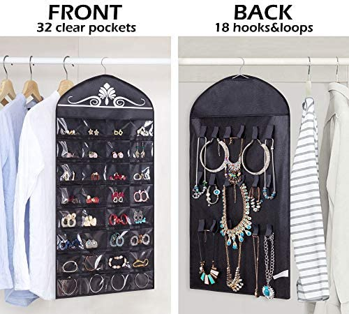 51P7YStK00L. AC  - Misslo Jewelry Hanging Non-Woven Organizer Holder 32 Pockets 18 Hook and Loops - Black