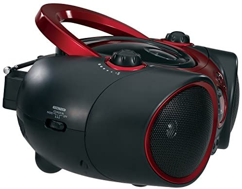 51QIeYFoeUL. AC  - JENSEN CD-490 Portable Stereo CD Player with AM/FM Radio and Aux Line-In, Red and Black