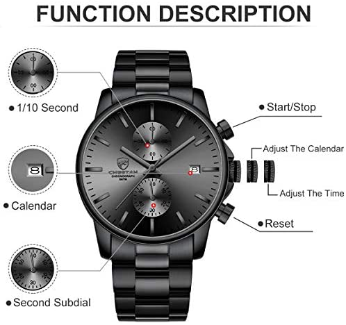 51Qo1eV6pnL. AC  - GOLDEN HOUR Fashion Business Mens Watches with Stainless Steel Waterproof Chronograph Quartz Watch for Men, Auto Date