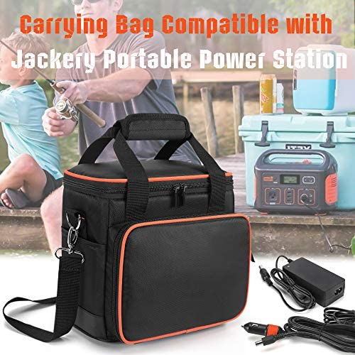 51RXlIVGDKL. AC  - Trunab Travel Carrying Bag Compatible with Jackery Portable Power Station Explorer 160/240/300, Storage Case with Waterproof PU Bottom and Front Pockets for Charging Cable and Accessories