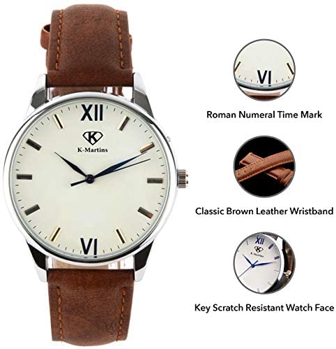 51Tc5XTGqIL. AC  - K-Martins Mens Wrist Watch -Quartz Analog Roman Numeral with Classic Brown Leather - Waterproof 10 Years Batteries - Fashion Casual Unique Dress - Business Office Work School Watches