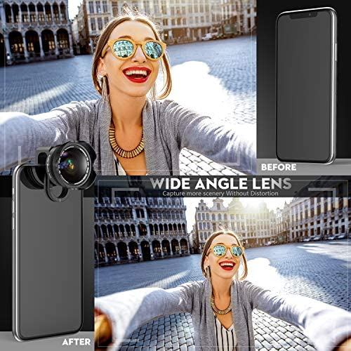 51VUJgUORwL. AC  - Phone Camera Lens, 5K HD 2 in 1 120° Wide Angle Lens, 20X Macro Lens,Clip-On Phone Lens Compatible iPhone,Samsung, Most Andriod Phones No Distortion