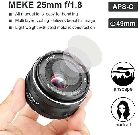 51WAPYXboeL. AC  - Meike 25mm F1.8 Large Aperture Wide Angle Lens Manual Focus Lens for Olypums Panasonic M43 Mount Mirrorless Cameras