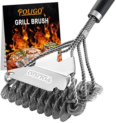 51X HwJyv5L. AC  - POLIGO BBQ Grill Cleaning Brush Bristle Free & Scraper - Triple Helix Design Barbecue Cleaner - Non-Bristle Grill Brush and Scraper Safe for Gas Charcoal Porcelain Grills - Ideal Grill Tools Gift
