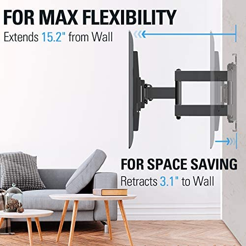 """51aCuj9VlcL. AC  - Mounting Dream TV Mount Full Motion TV Wall Mounts for 26-55 Inch Flat Screen TV, Wall Mount TV Bracket with Dual Arms, Max VESA 400x400mm and 99 LBS, Fits 16"""", 18"""", 24"""" Studs MD2380-24K TV Mounts"""