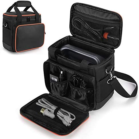 51d1Sg19P5L. AC  - Trunab Travel Carrying Bag Compatible with Jackery Portable Power Station Explorer 160/240/300, Storage Case with Waterproof PU Bottom and Front Pockets for Charging Cable and Accessories