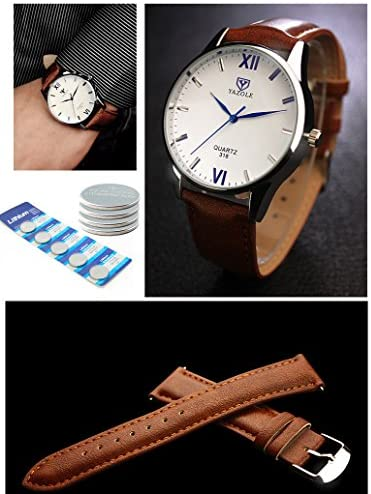 51d734OEg8L. AC  - K-Martins Mens Wrist Watch -Quartz Analog Roman Numeral with Classic Brown Leather - Waterproof 10 Years Batteries - Fashion Casual Unique Dress - Business Office Work School Watches