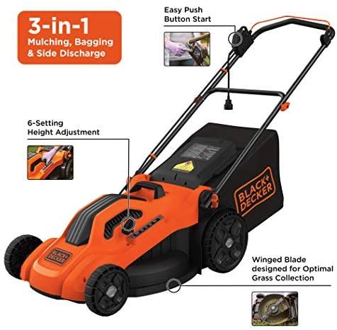 51e9FZUNoAL. AC  - BLACK+DECKER Lawn Mower, Corded, 13 Amp, 20-Inch (BEMW213)