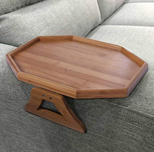 51gec1DmdAL. AC  - Xchouxer Side Tables Natural Bamboo Sofa Armrest Clip-On Tray, Ideal for Remote/Drinks/Phone