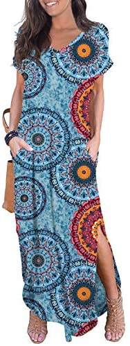 51gwpVUCnjL. AC  - GRECERELLE Women's Casual Loose Pocket Long Dress Short Sleeve Split Maxi Dresses