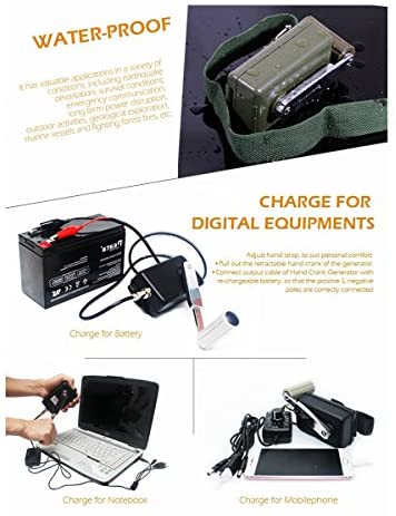 51hDPx2bXdL. AC  - Hand Crank Generator High Power Charger for Outdoor Mobile Phone Computer Charging 30W / 0-28V with USB Plug (Green Generator + DC Regulator)