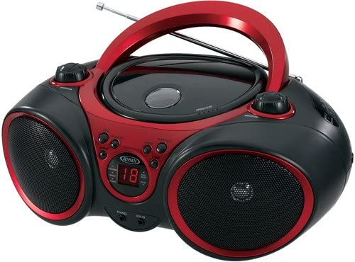 51hMa67BdjL. AC  - JENSEN CD-490 Portable Stereo CD Player with AM/FM Radio and Aux Line-In, Red and Black
