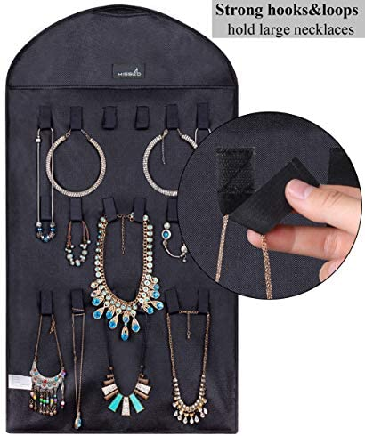 51hWZzR LJL. AC  - Misslo Jewelry Hanging Non-Woven Organizer Holder 32 Pockets 18 Hook and Loops - Black