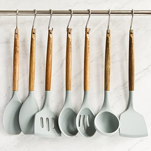 51m6jJUIb0L. AC  - Home Hero Silicone Cooking Utensils Kitchen Utensil Set - 8 Natural Acacia Wooden Silicone Kitchen Utensils Set - Silicone Utensil Set Spatula Set - Silicone Utensils Cooking Utensil Set