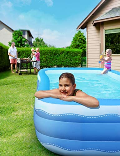 51nirVqUJnL. AC  - Sable Inflatable Pool, 118 x 72.5 x 20in Rectangular Swimming Pool for Toddlers, Kids, Family, Above Ground, Backyard, Outdoor, Blue (SA-HF071)