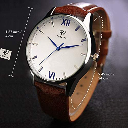 51o5sUweQzL. AC  - K-Martins Mens Wrist Watch -Quartz Analog Roman Numeral with Classic Brown Leather - Waterproof 10 Years Batteries - Fashion Casual Unique Dress - Business Office Work School Watches