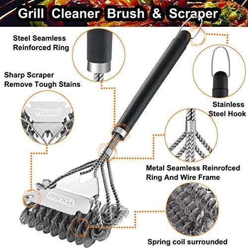 51qF4v48BQL. AC  - POLIGO BBQ Grill Cleaning Brush Bristle Free & Scraper - Triple Helix Design Barbecue Cleaner - Non-Bristle Grill Brush and Scraper Safe for Gas Charcoal Porcelain Grills - Ideal Grill Tools Gift