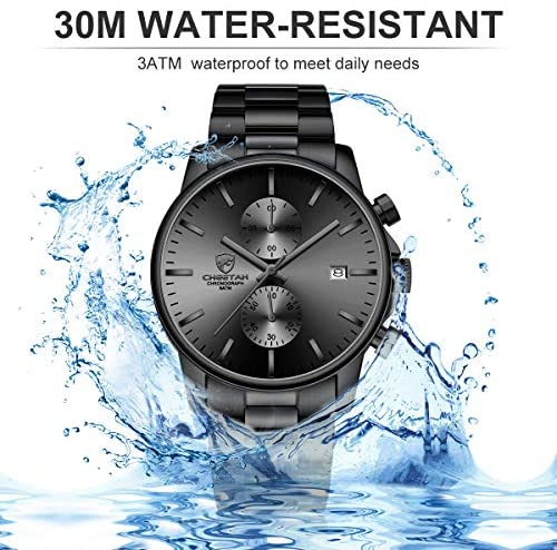 51qYcX2kVSL. AC  - GOLDEN HOUR Fashion Business Mens Watches with Stainless Steel Waterproof Chronograph Quartz Watch for Men, Auto Date