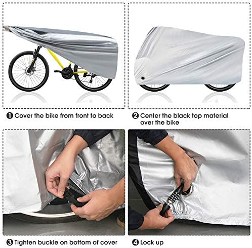 51trSrPlb7L. AC  - Puroma Bike Cover Outdoor Waterproof Bicycle Covers Rain Sun UV Dust Wind Proof with Lock Hole for Mountain Road Electric Bike