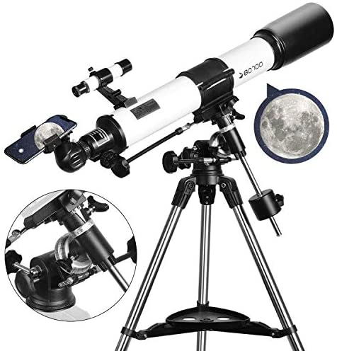 51uG0pkUo7L. AC  - Telescopes for Adults, 80mm Aperture and 700mm Focal Length Astronomy Refractor Telescope for Kids and Beginners - with EQ Mount, 2 Eyepieces and Phone Adaptor