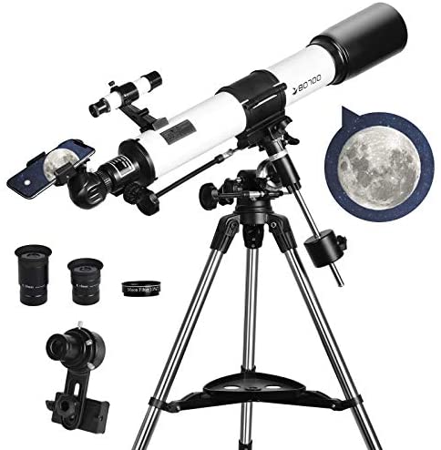 51zkPE16hdL. AC  - Telescopes for Adults, 80mm Aperture and 700mm Focal Length Astronomy Refractor Telescope for Kids and Beginners - with EQ Mount, 2 Eyepieces and Phone Adaptor