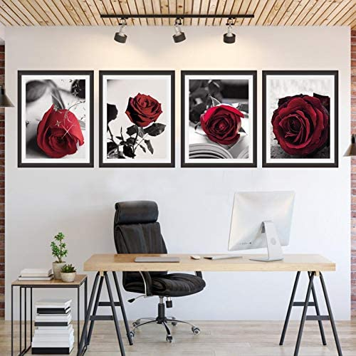 51zu2t7Ec2L. AC  - Modern Artwork Black And White Photo Red Rose Wall Art Paintings Set of 4 Rose Floral Picture Decor for Study Room Bedroom Living Room Home Decor Gift Frameless (8x10)