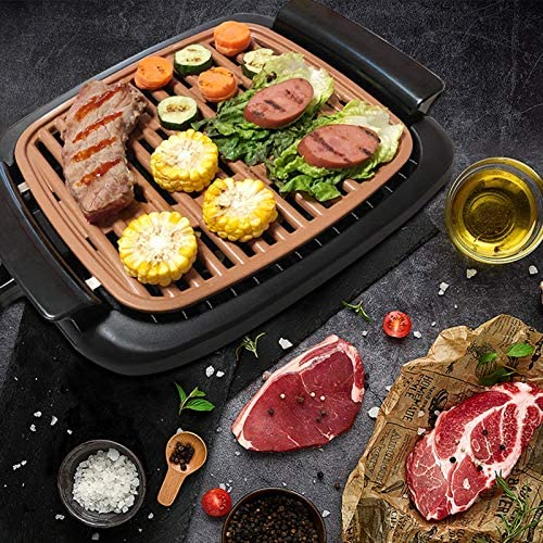 """61ATxAh+e9L. AC  - Nonstick Electric Indoor Smokeless Grill - Portable BBQ Grills with Recipes, Fast Heating, Adjustable Thermostat, Easy to Clean, 16"""" x 11"""" Tabletop Square Grill with Oil Drip Pan"""