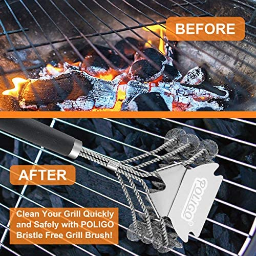 61NZk2cROxL. AC  - POLIGO BBQ Grill Cleaning Brush Bristle Free & Scraper - Triple Helix Design Barbecue Cleaner - Non-Bristle Grill Brush and Scraper Safe for Gas Charcoal Porcelain Grills - Ideal Grill Tools Gift